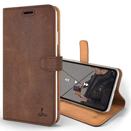 Snakehive iPhone XR Schutzhülle/Klapphülle echt Lederhülle mit Standfunktion, Handmade in Europa Bye iPhone XR (Braun)