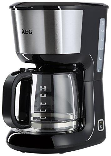 AEG KF 3700 Kaffeemaschine / skalierte 1,5 l / 12-18 Tassen Aroma-Glaskanne / Warmhaltefunktion / Sicherheitsabschaltung / Wasserstandsanzeige / entnehmbarer Filter-Korb / schwarz/silber
