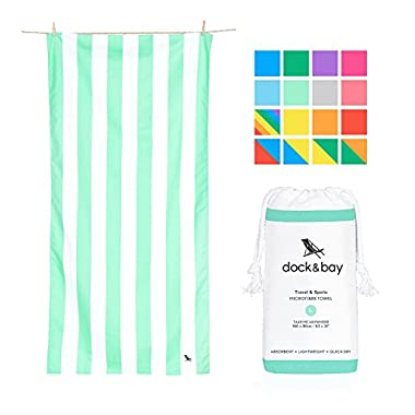 Dock & Bay Compact Sand Free Beach towel - Light Green, Large 63x31 - compact towel for travel, pastel striped towel design