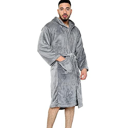 Albornoz para hombre, súper suave, cálido y acogedor, de forro polar, bata de baño con capucha de lujo para hombres, bata de baño de spa suave para hombres