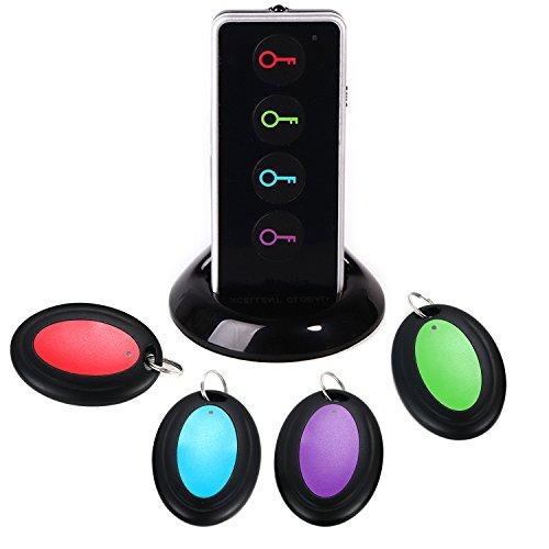 ATKKE Localizador de llaves con luz LED y soporte base. Mando a distancia con 4 receptores para localizar mascotas, teléfono móviles, objeto remotos, monedero HG08