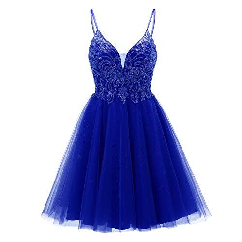 Short V Neck Homecoming Dresses Beaded Prom Dresses Spaghetti Tulle Glitter A Line for Teens Royal Blue Size 24
