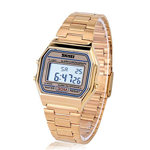 Armbanduhr Elektronische Uhr 3Colors Digital LED Rücklicht Elektronische Uhr-Rechteck mit Edelstahl Bügel(Gold)