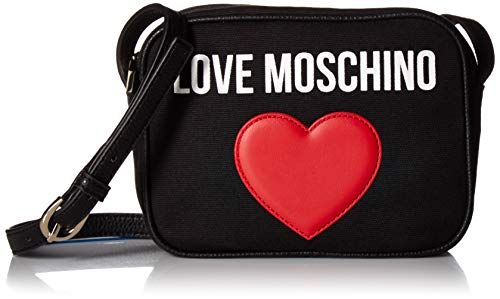 Love Moschino Damen Borsa Canvas E Pebble Pu Kuriertasche, Schwarz (Nero), 7x15x20 centimeters