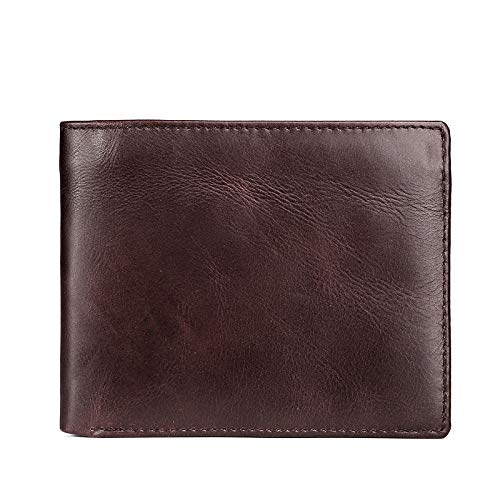 Leder Brieftasche Herren Leder Brieftasche Retro lässig kurz Öl Wachs Brieftasche Multi KarteDunkelbraun