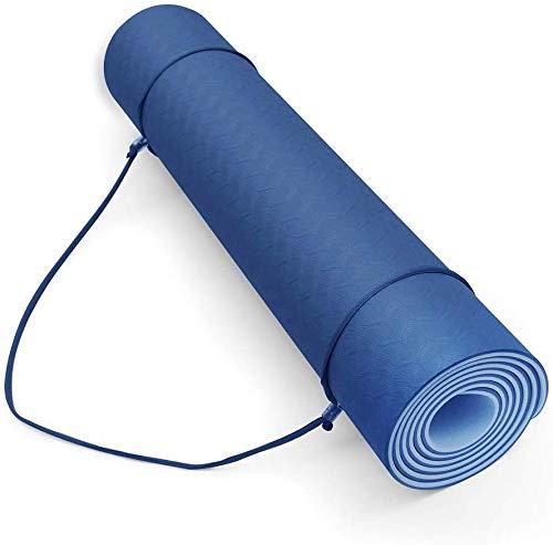 FiduSport TPE Gymnastikmatte Yogamatte rutschfest für Fitness Pilates & Gymnastik Matte mit Tragegurt Turnmatte Sportmatte Bodenmatte Maße: 183cmx61cm (Blau)