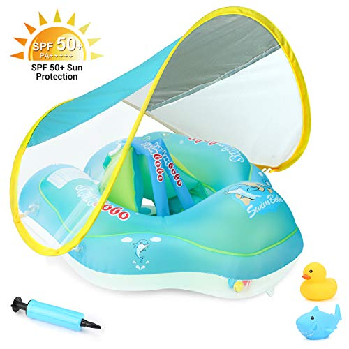 Luchild Baby Swimming Pool Float with Removable UPF 50+ UV Sun Protection Canopy,Toddler Inflatable Pool Float for Age of 3-36 Months,Swimming Trainer -S