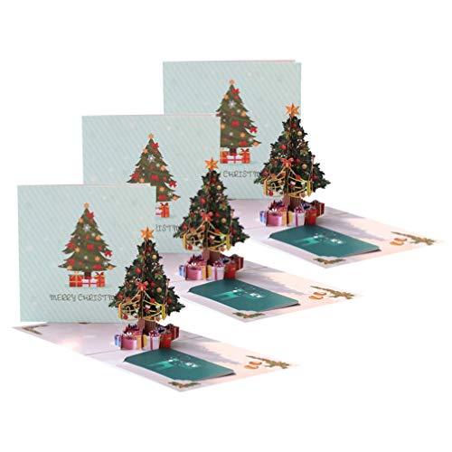 Toyvian 3 PC-Weihnachtskreative dreidimensionale Grußkarte Hand geschnitzte Grußkarte des Weihnachtsbaums 3d Karten