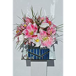 Silk Blooms Ltd Artificial Magneta Pink Amaryllis, Cymbidium Orchid and Calla Lily Floral Arrangment w/Mirrored Cube Vase