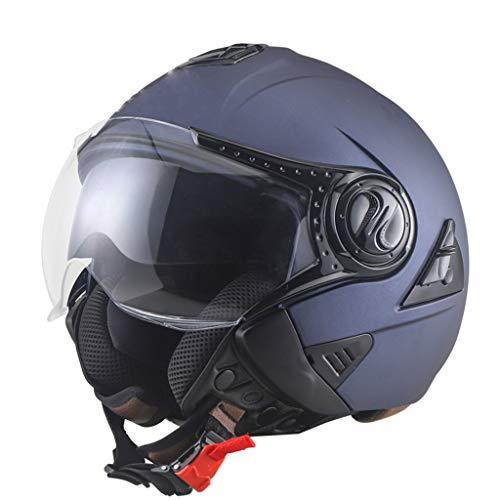 MNBV Jethelm Motorrad Retro offener Halbhelm Helm Pilotenhelm Cruiser Roller Chopper Fahrrad eingebauter Sonnenschutz ECE-zertifizierter-Unisex-Vintage Helm(57=64CM)