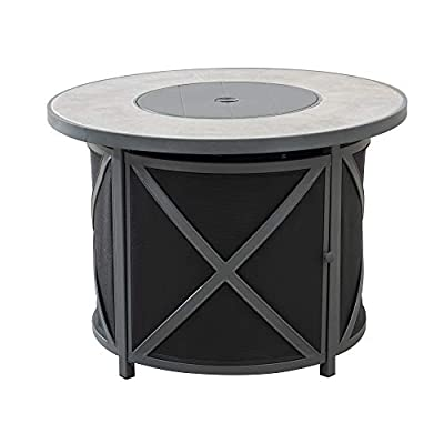 """Amazon Brand - Ravenna Home Archer Outdoor Patio Firepit Table with Panel Top, 36""""W, Gray"""