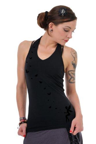 Neckholder Top Damen/Triangel Shirt Frauen schwarz mit Aufdruck Schmetterlings Elfe schwarz M, von 3...