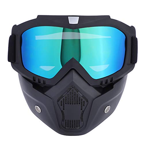 Zerone Sport-Maske, 3 Farben Sport Ski Snowboard Radfahren Gesichtsmaske mit Abnehmbaren Brillen für Open Face Helm Motocross Outdoor Fahrrad Dirtbike Off-Road Goggles Snowboard (Bunt)