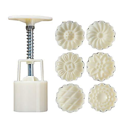 BUIDI 50g Mooncake Baril Moule avec 6 pièces chrysanthème Timbres Main Presse Lune gâteau Bricolage Lune gâteau Moule
