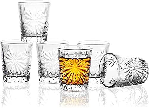 JAIEF Juego de 6 vasos de chupito de 60 ml, sin plomo, cristal transparente de base pesada