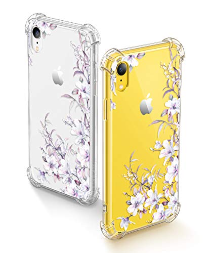 GVIEWIN iPhone XR Cases, Bouquet Series Unique Clear Floral XR Phone Case Girls Women Stylish Flexible Soft Slim Fit Anti-Shock Protective Cover for iPhone XR 6.1 Inch (Reed Flower/Purple)