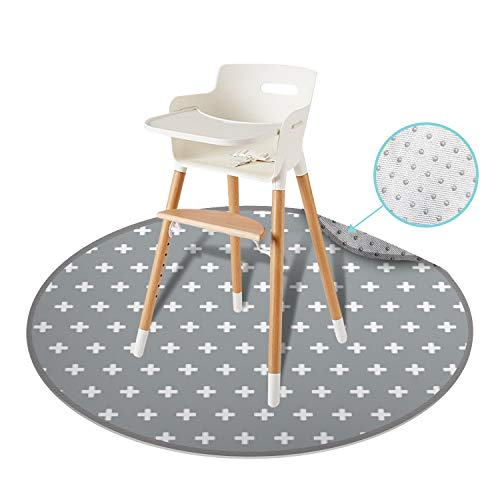 54' Large REIGNDROP Splat Mat for High Chair, Play Mat, Picnic, Art Crafts for Baby, Kids, Non Slip, Waterproof, Washable, Portable, Durable, Reusable Splash, Spill Mat Pet Litter (Round Plus Signs)