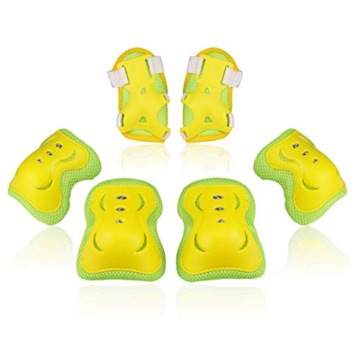 BOSONER Kids/Youth Knee Pad Elbow Pads Guards Protective Gear Set for Roller Skates Cycling BMX Bike Skateboard Inline Skatings Scooter Riding Sports (Yellow, Small (3-8 Years))