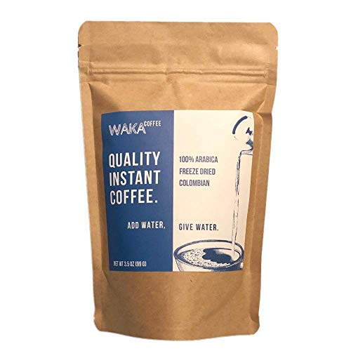 Waka Coffee Quality Instant Coffee, Colombian, Medium Roast | 100% Arabica, Freeze Dried, 35 Servings in a 3.5 oz Resealable Bag