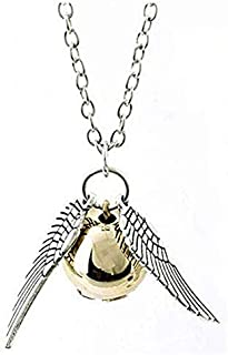 Harry Potter Golden Snitch ST Wings Pendant Necklace (Antique silver plate)