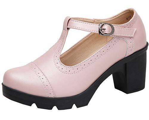 DADAWEN Women's Classic T-Strap Platform Mid-Heel Square Toe Oxfords Dress Shoes Pink US Size 7.5