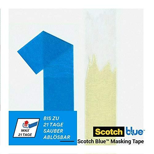 ScotchBlue Malerkrepp für Scharfe Linien, 36 mm x 41 m, Extrem Präzises Scotch Klebeband für Malerarbeiten, für Innen und Außen, mit 3M Fortschrittlicher Technologie, Abklebeband / Kreppband