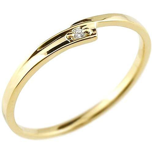 [アトラス]Atrus リング レディース 10金 イエローゴールドk10 ダイヤモンド 一粒 極細 華奢 エンゲージリング 指輪 2号