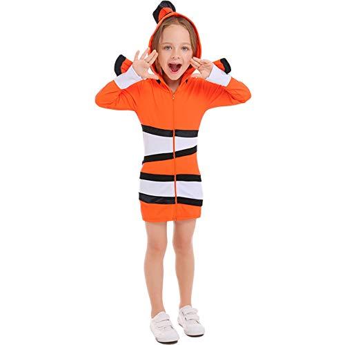 NiQiShangMao Disfraz de Ne-mo Acogedor para Nios, pez Payaso Naranja Acogedor, Cosplay, Fiesta Temtica del mar, Disfraz de Halloween, Traje de Rendimiento