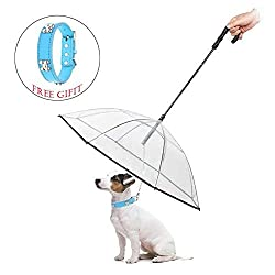 ABZON Transparent Dog Umbrella with Leash