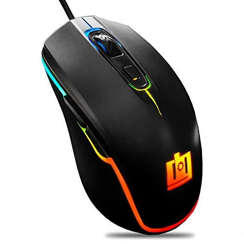 Deco Gear Wired Gaming Mouse | 800-5000 Adjustable DPI | High Precision Optical Mouse | Ergonomic for All Gaming Grips | 11 RGB Backlit Modes | 6 Buttons