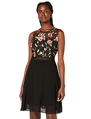 Amazon-Marke: TRUTH & FABLE Damen Mini A-Linien-Kleid aus Spitze, Mehrfarbig (Rose Mesh), 40, Label:L