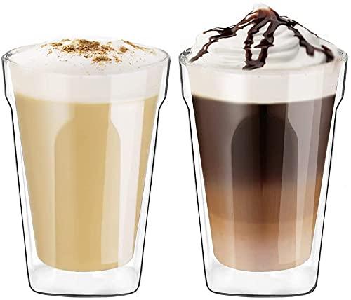 Ecooe 350ml Doppelwandige Cappuccino Tassen Glaser Latte Macchiato Glaser 2er Set Trinkgläser Kaffeeglas
