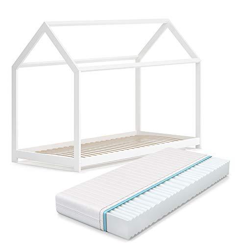 VitaliSpa Hausbett Wiki Weiß Kinderbett Kinderhaus Kinder Bett Holz Matratze (Weiß Lackiert, 90 x 200 cm + Matratze)