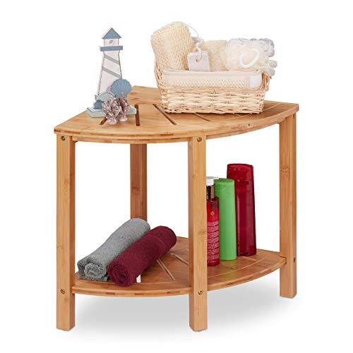 Relaxdays Mobiletto Ad Angolo In Bambù, 2 Ripiani, Design Naturale & Aperto, per Bagno & Cucina, 44x40x40 cm, Naturale
