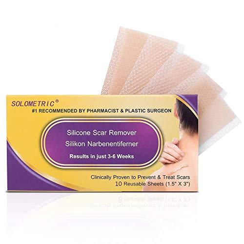 Silikon-Narbenentfernungsblätter, schnell und effektiv, entfernt Narben für C-Abschnitte, Akne, Operationen, Verbrennungen und mehr, wiederverwendbare Narbenstreifen (3.5 * 7.5cm 10er-Pack)