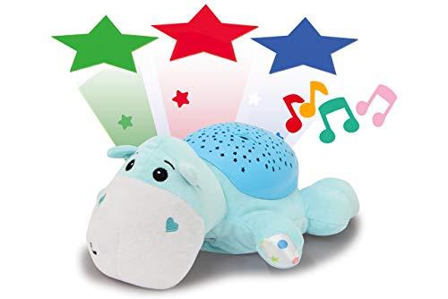 Jamara 460430 Sternenlicht Dreamy Nilpferd Sternenhimmel Projektion, Stern-/ Mondmuster, LED wechselnde Farben, beruhigende Melodien, Licht EIN/aus, Abschaltautomatik, hellblau