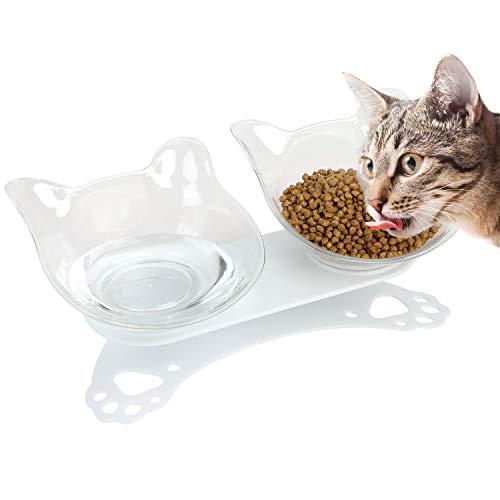 Bangcool Gamelle à plateforme inclinée 15° avec support antidérapant et anti-éclaboussures, durable, démontable, facile à nettoyer, convient pour les chats et les petits chiens