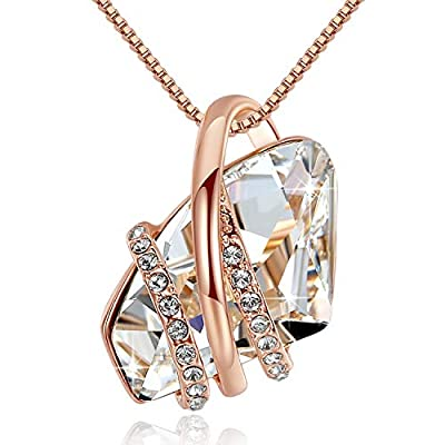 Leafael Wish Stone Pendant Necklace Made Swarovski Crystals Birthstone Jewelry Gifts Women, Rose Gold Plated, Silver Tone