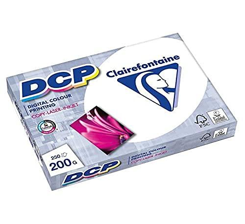 Clairefontaine 1807C Druckerpapier DCP Premium Kopierpapier für farbintensiven Bilderdruck, DIN A4, 21 x 29,7cm, 250g, 1 Ries mit 125 Blatt, Weiß