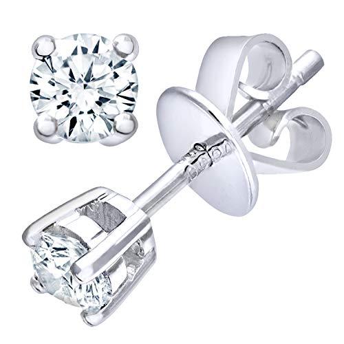 Naava 9k Weißgold Ohrstecker, I/I1 zertifizierte Diamanten, Runder Brillant, 0,25k