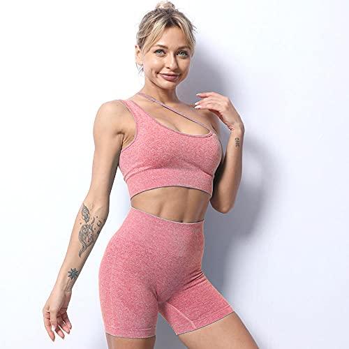 BUXIANGGAN Shorts Pantalones Cortos Mujer Mono De Yoga Ropa Deportiva Camisola Un Hombro Correa Sujetador Pantalones Cortos Conjunto De Fitness para Mujer-Rouge_S