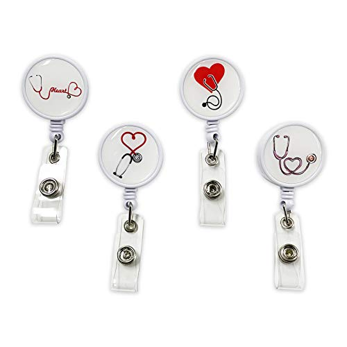 4 soportes retráctiles para tarjetas de identificación, carabinas, carretes, con clip de cocodrilo, para estudiantes de enfermería, carrete decorativo (estetoscopio)