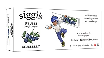 Siggi's, Low-Fat Yogurt Tubes, Blueberry, 2 oz, 8 tubes