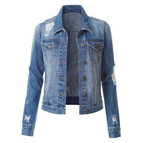 EUCoo Jeans Donna Giacche in Denim Giacca Strappata Jeans Casual Vintage Strappata Classica Strappata Plus Size