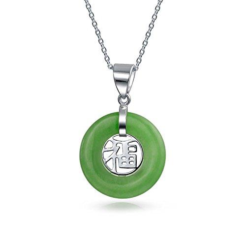 Asiatischen Stil Kreis Disc Glück Chinesischen Fortune Gefärbt Grüne Jade Kette Mit Anhänger Für Damen Sterling Silber