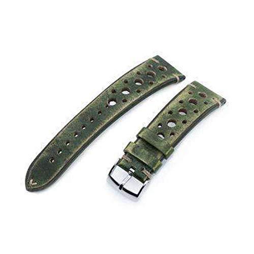 Cinturino per orologio in pelle con cinturino 20mm o 22mm MiLTAT Cinturino per orologio verde vintage fatto a mano Racer, cuciture marrone L.