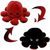 Pulpo Reversible Pulpo Peluche Peluche Pulpo Reversible Lindo Pulpo Juguetes de Muñeca de Pulpo de Doble Cara Muñeco de Peluche de Pulpo Reversible Regalos de Juguetes Creativos (Rojo + Negro)