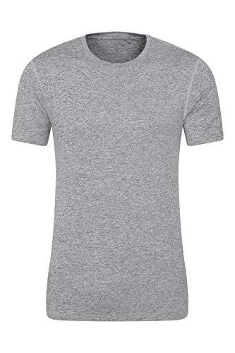 Mountain Warehouse T-Shirt reciclada Echo Melange Hombre - Camiseta de Alta absorción, Top de Secado rápido, Parte de Arriba UV Protect MAX, Transpirable - para Deporte Gris Claro 4XL