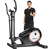 FUNMILY APP Elliptical Machine, Elliptical Trainer with 8 Level of Magnetic Resistance, Bluetooth Connect Multi-Function LCD Monitor, & 370 lbs Weight Capacity for Home Use Cardio (Home Black)