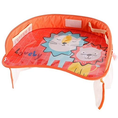 Car Safety Seat Tray Table Portable Multifunctional Cartoon Baby Child Kid Seat Seat Chair Toy Food Drink Cellphone Holder Orange